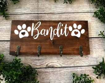 Personalized Dog Leash Holder For Wall