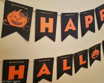 Halloween Banner, Happy Halloween, Halloween Party Banner, Halloween Décor, Trick or Treat Banner, Halloween Garland, Orange and Black, Fall