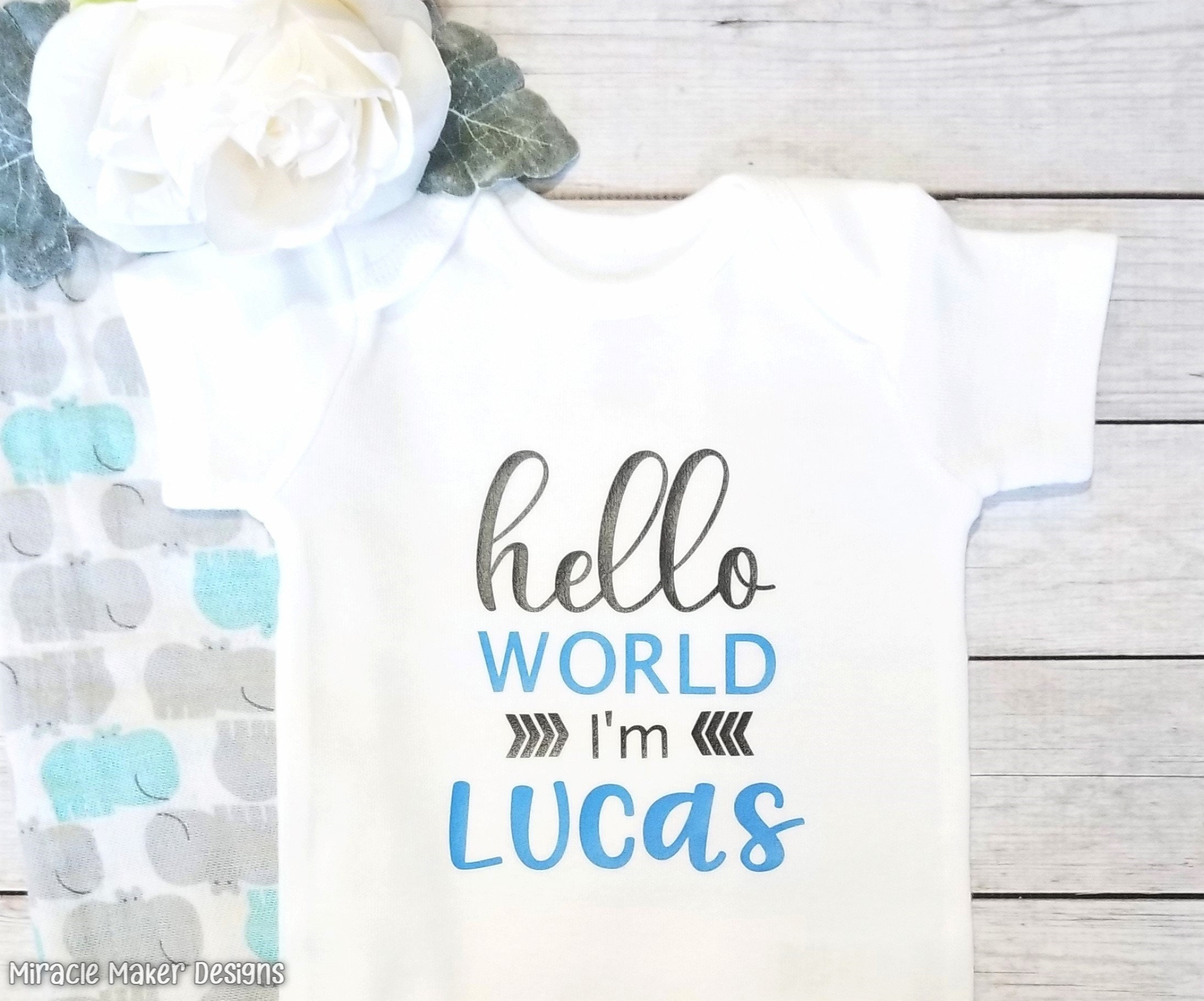 12-18 months shower Personalised Any Name Hello World Baby vest Unisex Newborn