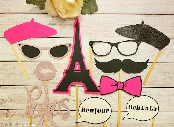 Paris Photo Booth Props Parisian Party Decorations Paris Etsy