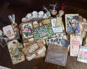 Vintage junk journal. Tags. Pockets. Embellishment kit. Flowers & Angels