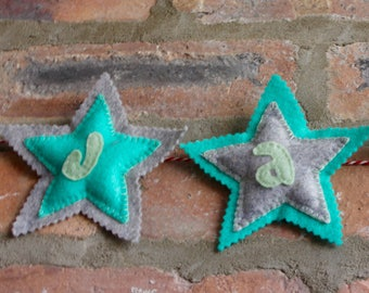 Personalised Baby Name Bunting, Garland, Baby Name Banner, Grey and Turquoise Stars, Neutral Nursery Decor, New Baby Gift, Baby Shower Gift
