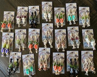Hanging plant earrings