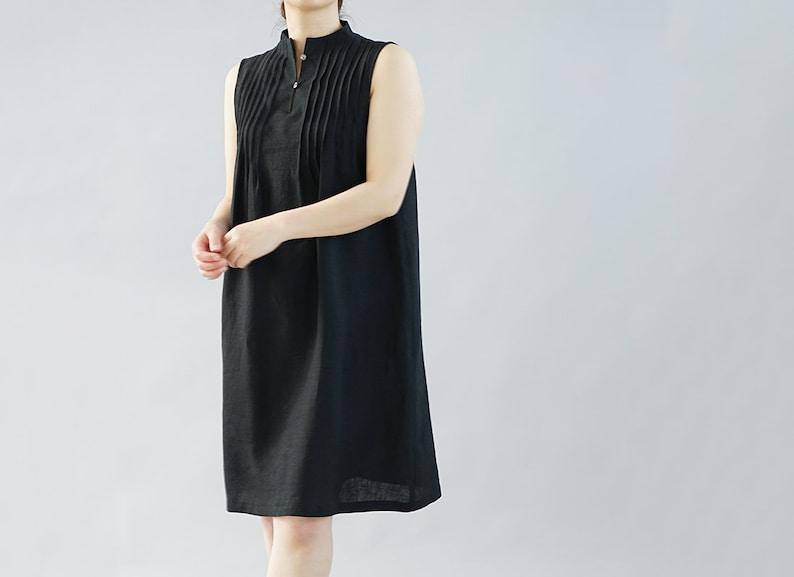 wafu Lightweight Linen High-neck Inner Dress  Black p001a-bck1