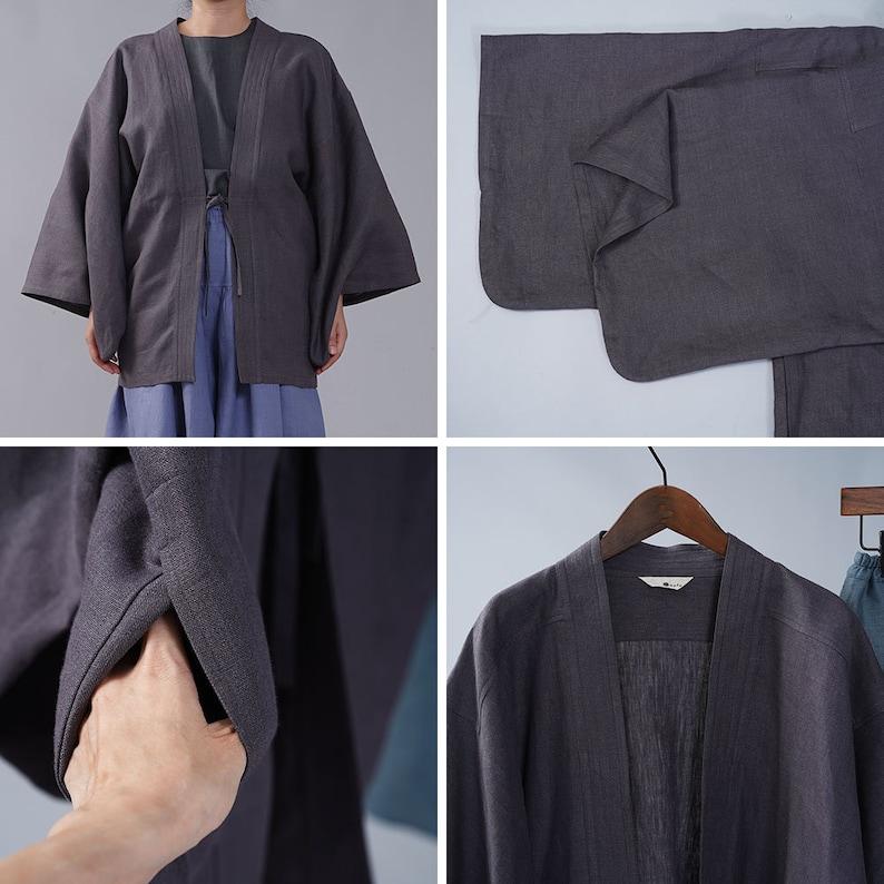 Linen Haori Jacket Midweight Linen  Black Acorn h037h-ktb2 wafu