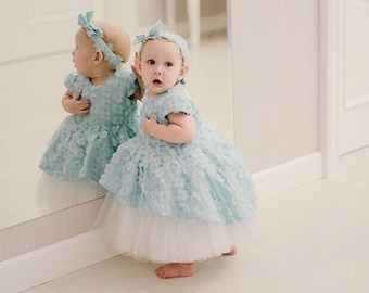 Light Blue Baby Dress With Flowers And Heart On Back - 100% Hand Made - High Quality Materials - Baby / Toddler - Size 0-3 Years