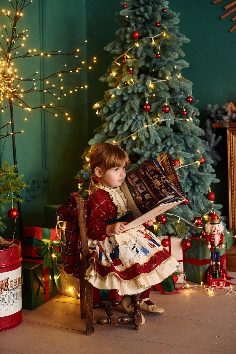 Tartan girl dress Cosplay costume Birthday party toddler dress Nutcracker baby dress Fluffy dress Haloween Christmas