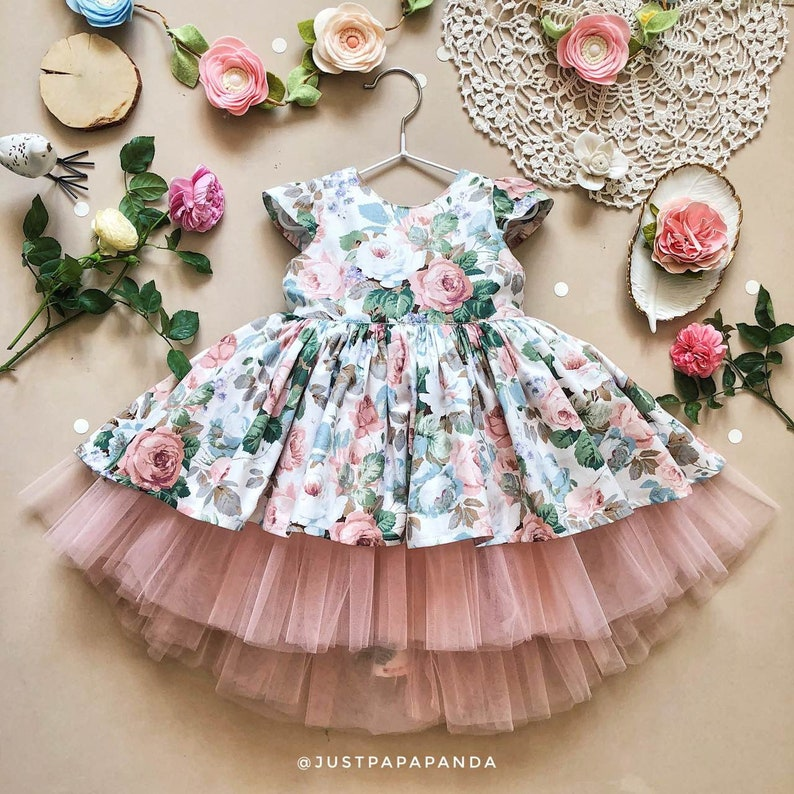 a1ebfdf7b6e Cotton dress of white flower print with tulle 1st birthday
