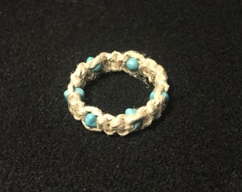 Hemp and turquoise ring size 7
