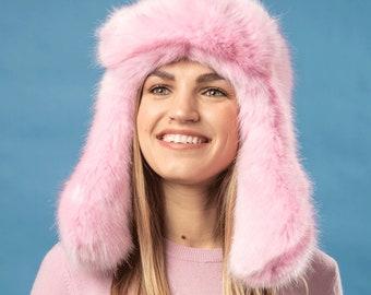 bf3cb21a Pink fluffy burning man faux fur aviator hat super quality unisex