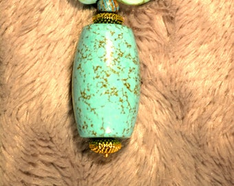 Necklace Tibetan Turquoise beads and barrel N95 Drigung Til