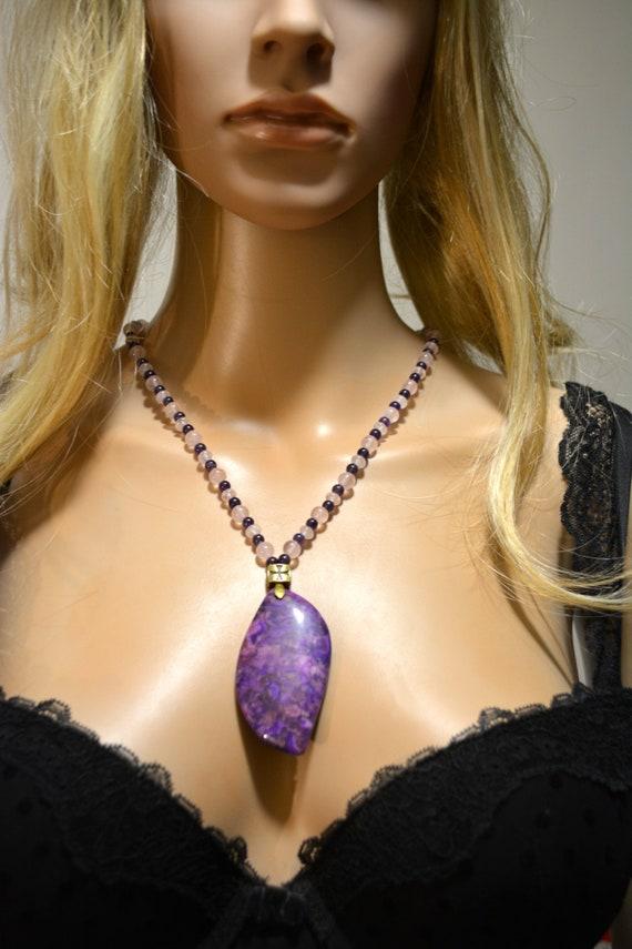 Charoite Jasper necklace Amethyst rose quartz Sanat Kumara 112 br\u00e9chite