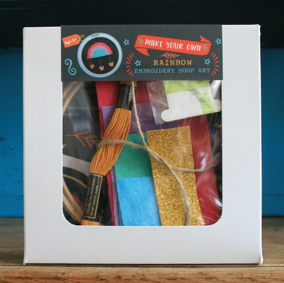 Super Cute Rainbow Hoop Craft Kit with Glittery Hearts