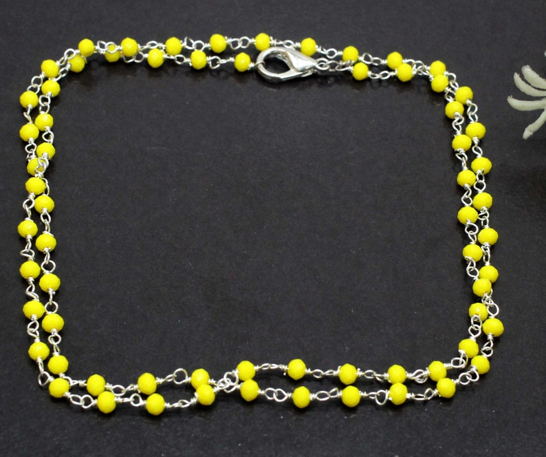 New Yellow Onyx Jewelry Chain,Handmade 925 Sterling Silver Plated Jewelry,Gift For Her Or Him,Latest Indian Jewelry