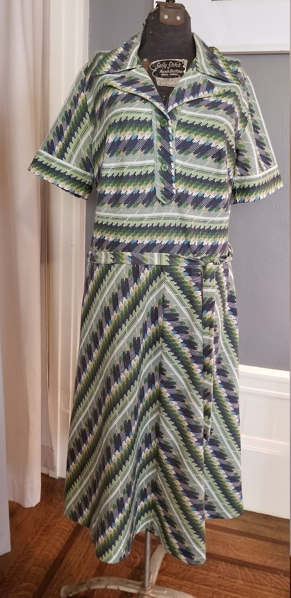 Green and Blue 70s Vintage Dress