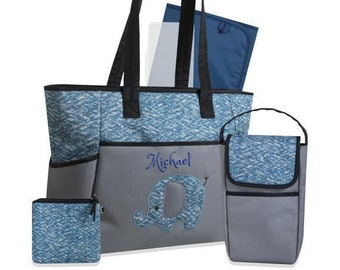 e5ad87831ddea6 PERSONALIZED 3 in 1 Diaper Bag set Blue Elephant -Custom Monogram  Name  Embroidered -Changing Pad   Pouch for infant  Baby Bag  Baby Gift