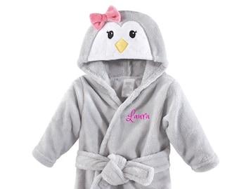 PERSONALIZED Baby Bathrobe Girl Penguin Animal -Infant Bath robe Custom  Monogram  Name Embroidered Gift  Infant  Baby Shower  Baby Bath Robe 2e4f67d31