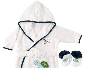 PERSONALIZED Baby Bathrobe -TURTLE -Infant Bath robe -Custom Monogram  Name  Embroidered Gift  Elephant  Infant  Baby Shower  Baby Bath Robe 2420245c0