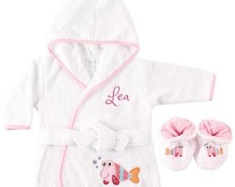 PERSONALIZED Baby Bathrobe -Fish Terry Infant Bath robe -Custom Monogram   Name Embroidered Gift  Infant Baby Shower  Baby Bath Robe c2352b173