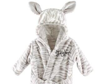 4ebd585dbd Personalized Baby Bathrobe -ZEBRA -FREE Shipping -Custom Monogram  Name  Embroidered Gift  present  Infant  Baby Shower or Birth