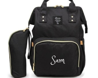 PERSONALIZED Large Diaper Bag Knapsack Set -Black -Custom Monogram  Name  Embroidered -Bottle warmer Pouch for infant  Baby Bag  Baby Gift aa422960182bb