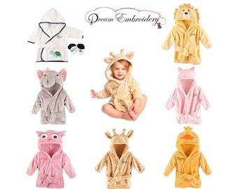 c8a83fe188 PERSONALIZED Baby Bathrobe -Animal -Infant Bath robe -Custom Monogram  Name  Embroidered Gift  Elephant  Infant  Baby Shower  Baby Bath Robe