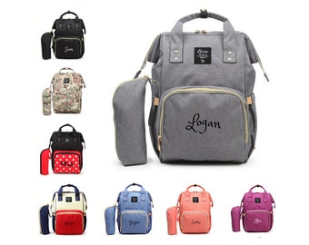 e611193adc1d PERSONALIZED Large Diaper Bag Knapsack Set -Gray -Custom Monogram  Name  Embroidered -Bottle warmer Pouch for infant  Baby Bag  Baby Gift