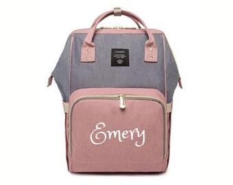 74973cdeb8 PERSONALIZED Large Diaper Bag Knapsack PINK /GREY Custom Monogram /Name  Embroidered Backpack Diaper bag infant /Baby Bag /Gift Nappy Bag