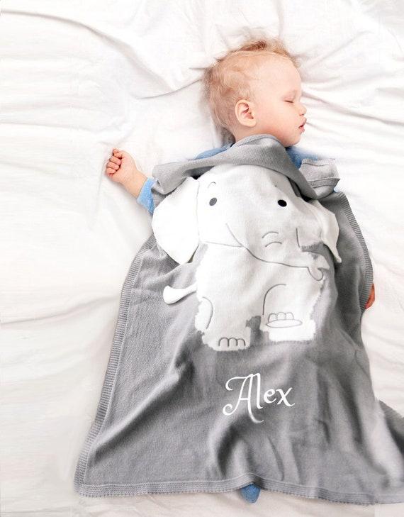 Personalized Baby Blanket Cotton Knit Blanket Grey Elephant Etsy
