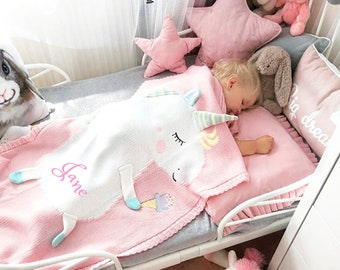 PERSONALIZED Baby Blanket Cotton Knit Blanket Pink Unicorn Blanket Custom Monogram Gift Baby Shower Infant warm blankie blanket Swaddle
