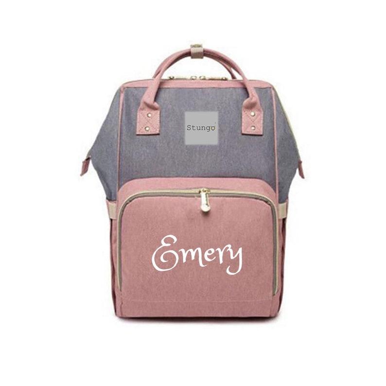 PERSONALIZED Large Diaper Bag Knapsack PINK /GREY Custom Solid Grey /Pink