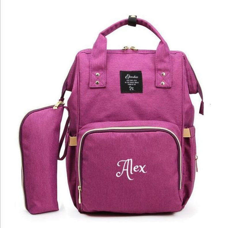 664dcd47f3125 PERSONALIZED Large Diaper Bag Knapsack Set Purple Custom