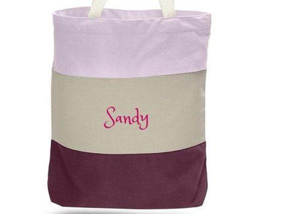 Personnalisé lourds sacs en toile - Tri-couleur pourpre - livraison gratuite - monogramme personnalisé / nom de cadeau brodé - Shopping /voyage présent