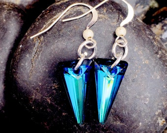 Swarovski beautiful Bermuda Blue spike crystal earrings with Sterling silver earwires with stardust beads