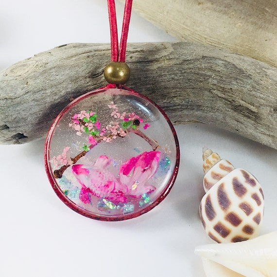 Koi in Pond with Pink Lotus Flower on Crystal /& Silver Plated Pendent w// 24 Silver Plated Ball Chain