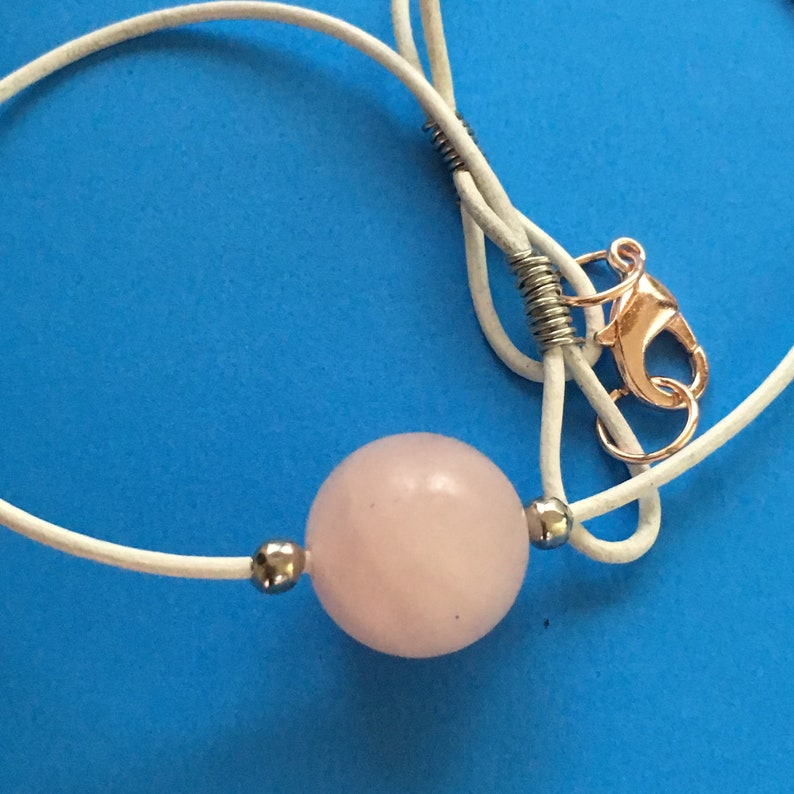Beautiful MATTE ROSE Quartz Bead 15mm on 1mm white leather choker with stainless steel trim large rose gold lobster clasp white choker boho