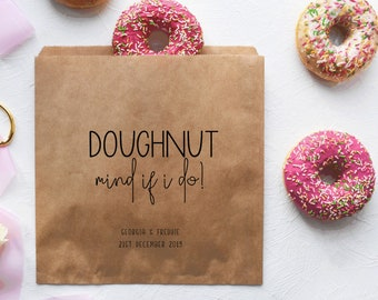Doughnut Mind If I Do! Personalised Wedding Donut Paper Bags for Donut  Walls and Wedding Favours 605bf2c0b5622