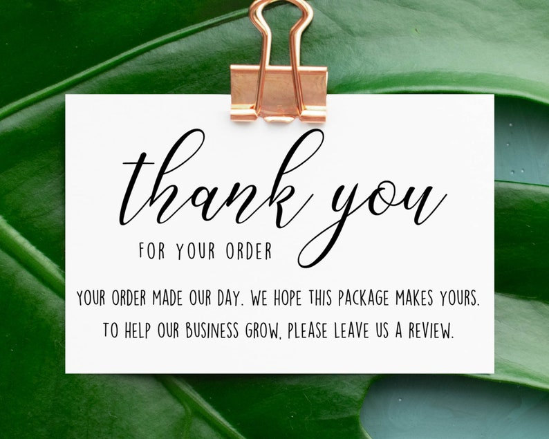 thank you for your order cards please leave a review card