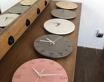 Modern Concrete Wall Clock,  Gray Concrete Home Decor, Cement Clock, non-ticking/silent mechanism, + gift