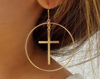 Dangle Cross Earring, Cross Earring Dangle, Chandelier Earring , Gold Filled, Cross Hoop Earring, Cross Earring, FAST SHIPPING