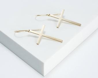 Cross Earring / Gold Filled Cross Earring / Gold Cross Earring / Religious Jewelry / Religious Earring / Gold Cross / Trendy Earring  /