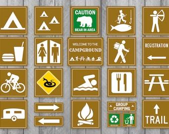 photograph regarding Free Printable Camping Signs named Tenting indicators Etsy