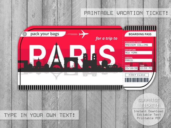 Paris Vacation Surprise Trip Ticket Boarding Pass Instant Download Editable Gift Tickets Personalize And Print At Home With Adobe Reader