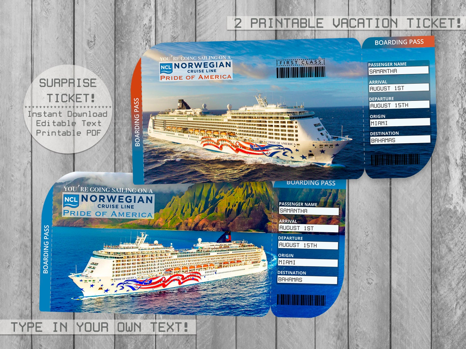 Pride of America, Norwegian Cruise Printable Ticket Boarding Pass, Editable  File, NCL Surprise Trip Vacation, Personalize with Adobe Reader!