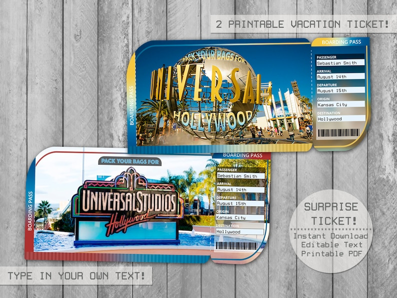 graphic regarding Universal Studios Hollywood Printable Coupons identify Common Studios Hollywood Holiday Ticket Editable Document, Boarding P, Question Holiday Tickets, Envelope, Customise with Adobe Reader!