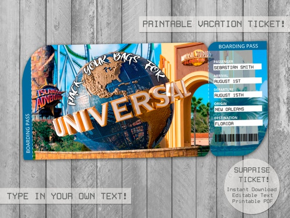 picture about Universal Studios Hollywood Printable Coupons titled Speculate Common Studios Holiday Ticket Editable Document, Boarding P , Getaway Tickets, Envelope Present Ticket, Customise with Adobe Reader!