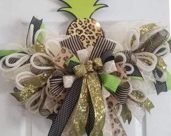 Leopard Pineapple rail wreath