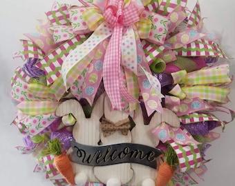 Easter bunny Welcome Wreath