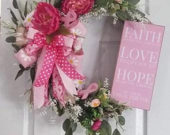 Breast Cancer Grapevine Wreath