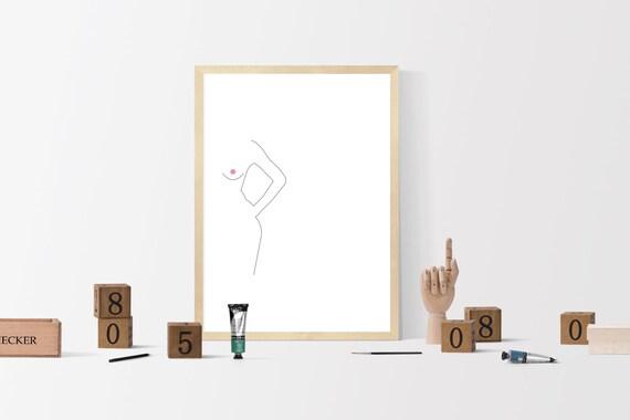 Nude Line Drawing Nude Art Print Booty Art Butt Art Printable Wall Art Female Back Line Art Poster Naked Sketch Female Body Poster